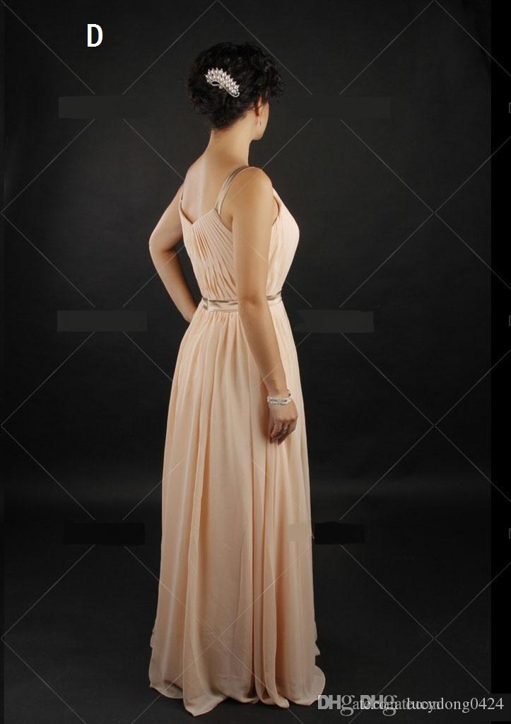 2015 Long Bridesmaid Dresses Chiffon Mix Styles Summer Beach Wedding Party Maid of Honor Gowns Brown Belt Plus Size Custom Made Dresses
