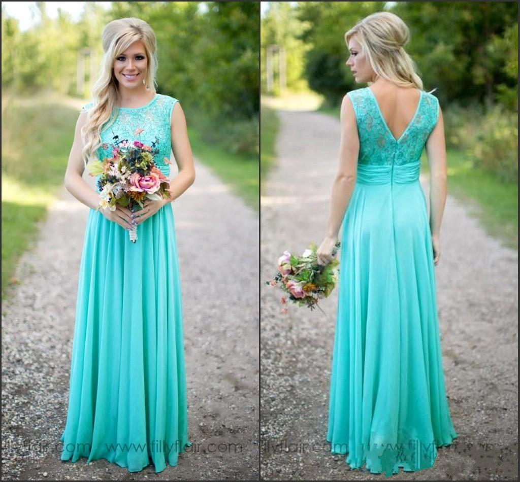 Turquoise lace chiffon bridesmaid dresses 2017 cap sleeve a line turquoise lace chiffon bridesmaid dresses 2017 cap sleeve a line floor length maid of honor gowns country style wedding party gowns cps574 designer gown ombrellifo Gallery