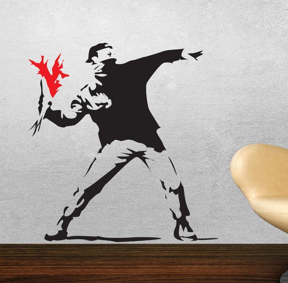 Banksy Wall Art banksy wall stickers hooligan throwing flowers riot art
