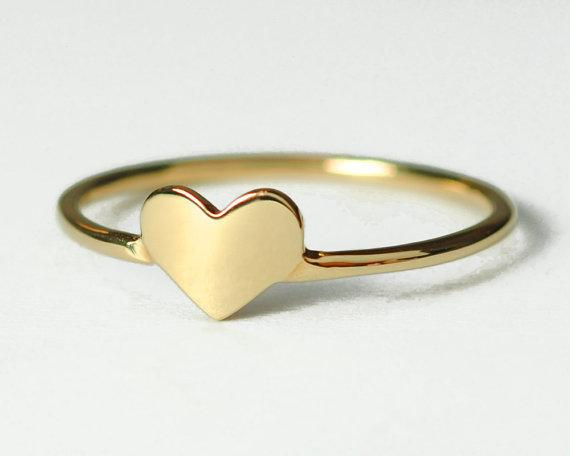 2018 Solid 18k Gold Plated Heart Ring Jewelry Ring For Women