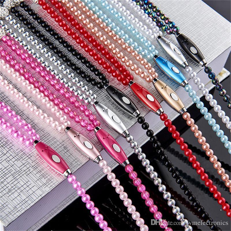 Luxuxrhinestone-Perlen-Halsketten-Kopfhörer mit Mikrofon-Rosa-Mädchen-Ohrhörer-Kopfhörer für Iphone HuaWei XiaoMi bestes Geschenk