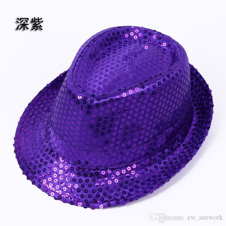 ! Fashion Sequins Jazz hats TOP hats for men & women Stylish Trilby Sequins Performance Dancing cap for Christmas party
