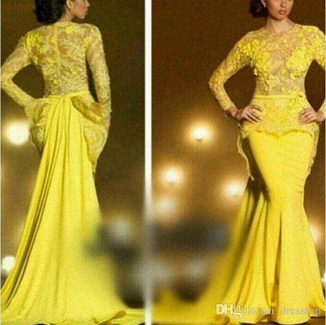 ファッションレースのフォーマルイブニングドレス長袖マーメイドのアップリケ薄いジュエルネックペプラムウエディングドレス黄色の透明なイブニングドレス