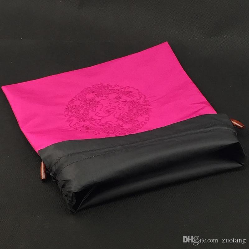 Broderi Dragon Travel Bra Förvaring Underkläder Bag Drawstring Kinesisk Etnisk Silk Sko Skal Storage Förpackning Påse Gratis Frakt