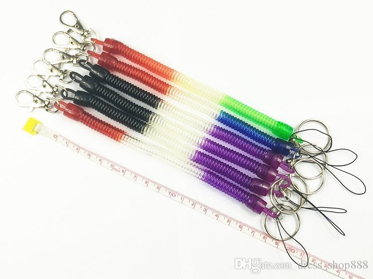 Retractable cable teléfono cadena llavero resorte de plástico llavero tarjeta manga cuerda elástica cuerda primavera color