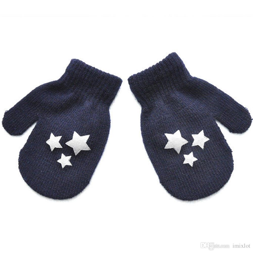 Cute Toddler Kids Dot Star Heart Pattern Glovers 3-6Y Mittens Boys Girls Soft Knitting Warm Gloves Fashion