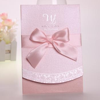 cheap pink wedding invitation in stock wedding cards with envelope high quality ribbon trim raser custom made wedding card 2016 new arrival lavender wedding - Pink Wedding Invitations