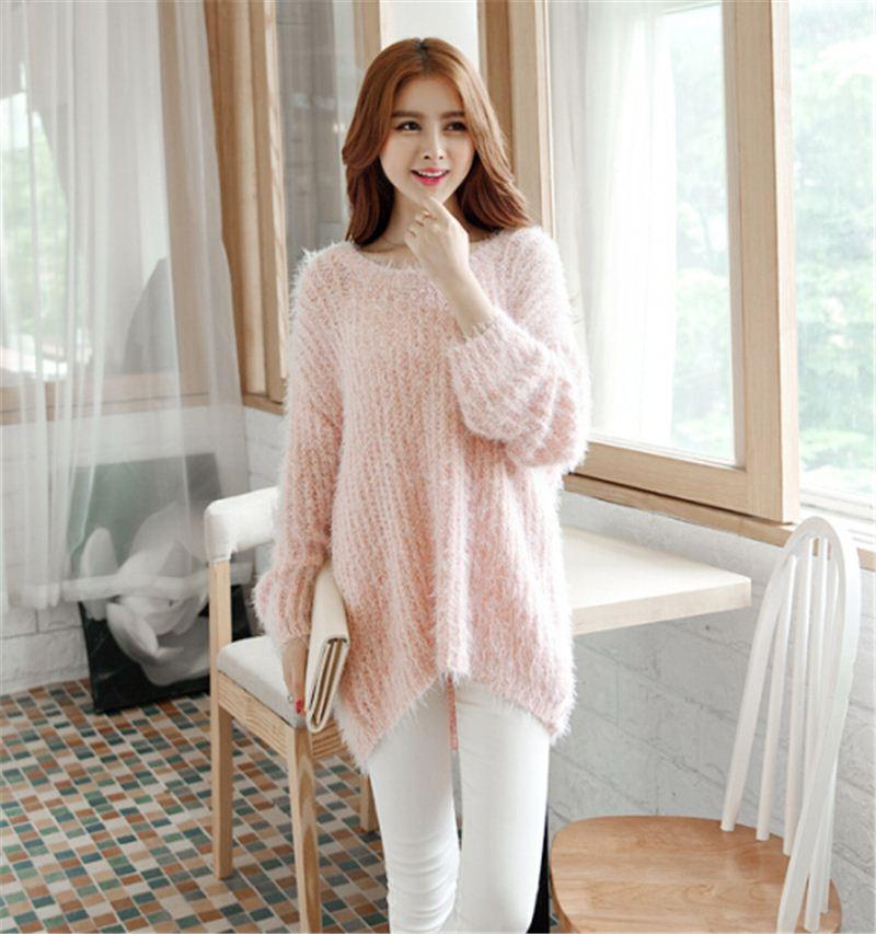 Best Girls Lolita Feather Yarn Pullover Sweaters Long Sleeve ...