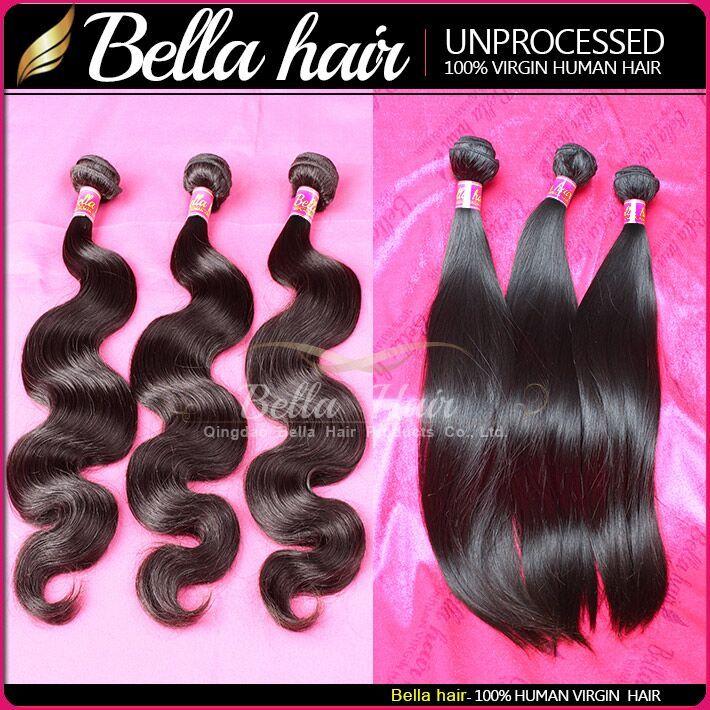 Brezilyalı Vücut Dalga Bakire Remy Insan Saç Örgüleri Işlenmemiş Saç Düz Saç Uzantıları Atkı Kendinizi İnanılmaz Bellahair 7A