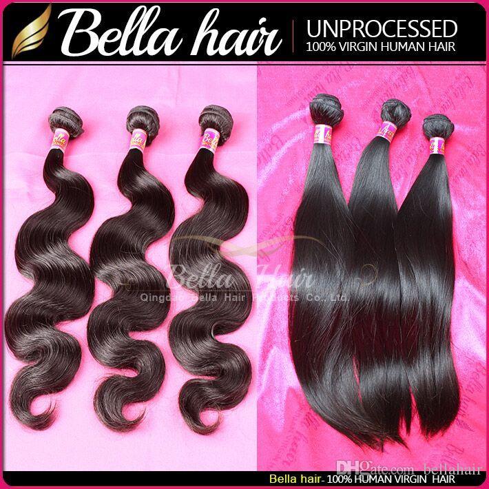 Vague corporelle Bouchons de cheveux Brésilien Virgin Remy Cheveux humains Teins de cheveux droits non transformés EXTENDUES DE CHEVEUX DROITES THÈME incroyable Bellahair