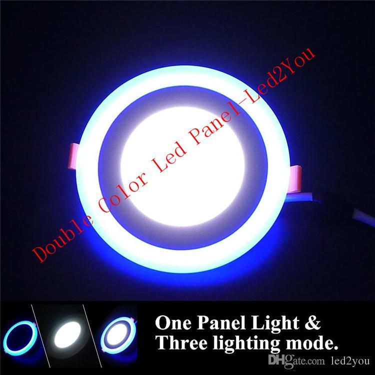 듀얼 컬러 led downlights 흰색 + 파란색 6w 9w 16w 24w 주도 recessed 조명 천장 조명 ac 85-265v