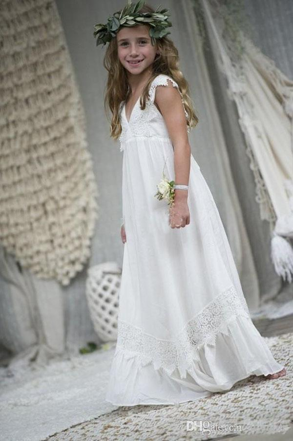2.020 Tamaño vendedor caliente de la playa de Boho del florista de los vestidos de gasa de encaje personalizado comunión Fiesta Vestidos cuello en V vestidos formales Kid personalizada