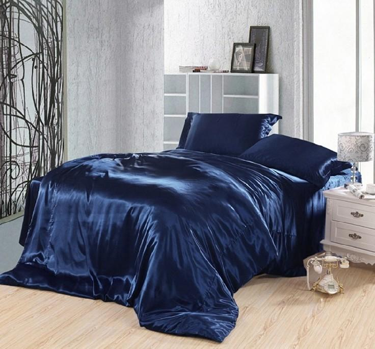 dark blue bedding set silk satin super king size queen double fitted