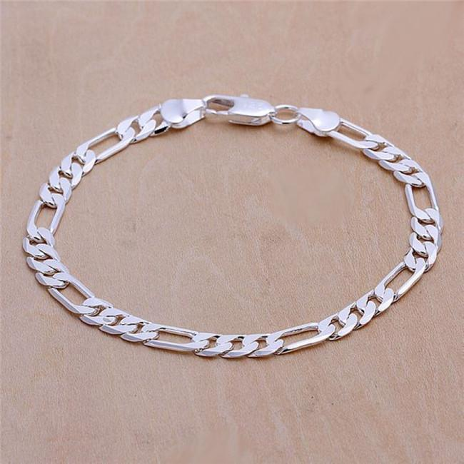 6MM Figaro chain bracelet plated 925 sterling silver men Fashion Jewelry Length 20CM Top quality free shipping