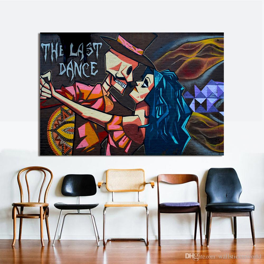 Last Dance Graffiti Canvas Art Modern Street Art Last Dance Wall Pictures For Living Room Home Decor Printed Painting No Framed