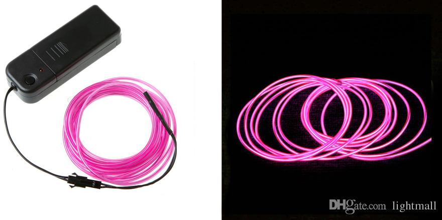 2M Flexible Neon Light Glow EL Wire Rope Strobe Light For Bar Car Dance Party with Controller