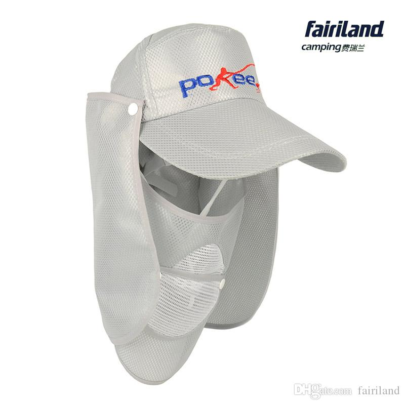 eba48f4a4127b 2019 UV Protection Hollow Fishing Cap W  Removable Neck Cape  Jungle Fisherman Cap Breathable Face Cover Bucket Hat Outdoor Hat For  Fisherman From Fairiland