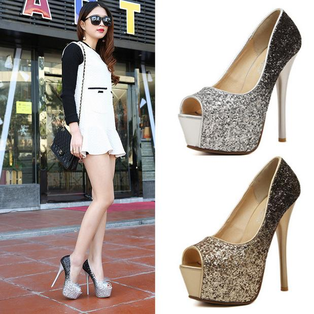 15cm Gold Pumps Gold Thin High Heels Pumps Shoes For Women Female ...