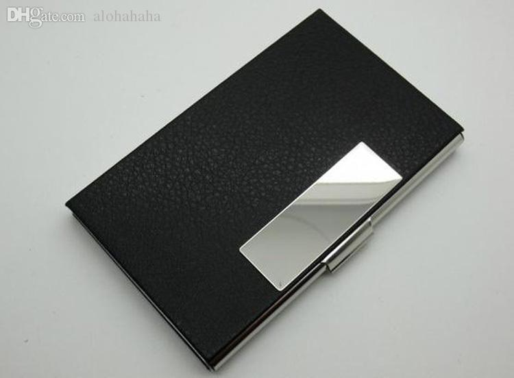 Wholesale pu leather stainless steel card holder name card credit id wholesale pu leather stainless steel card holder name card credit id card pocket case box keeper holder ladies leather wallet wallets uk from alohahaha reheart Image collections