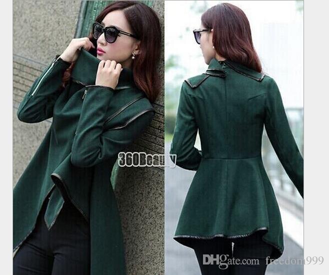 Women Fashion Trench Coat Long Zipper Lapel Neck Wool Coats Pockets Irregular Collar 2016 New Style Winter Casual Jacket Outwear S-XXL