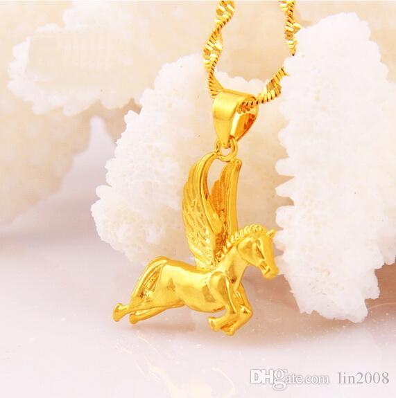 Collana ciondolo cavallo in oro giallo placcato donne, designer 2016 nuove catene pendenti gioielli da sposa, spedizione gratuita