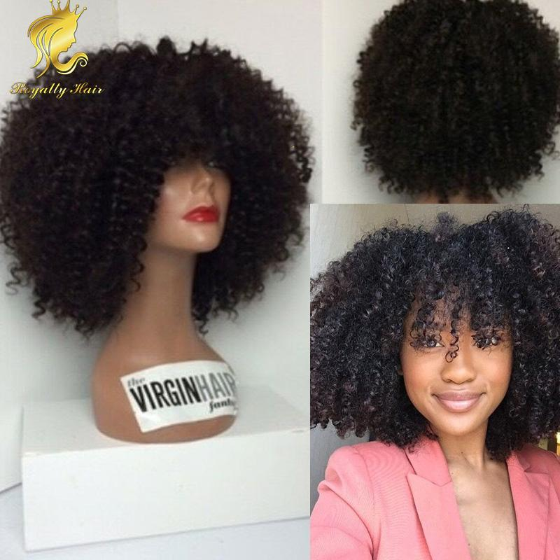 150% Afro Kinky Curly lace front Human Hair Wigs Bob Mongolian full lace Wig Human Hair Afro Curls Nautral Black Sale