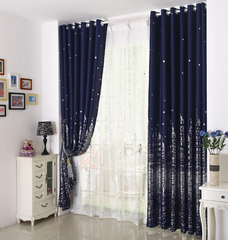 Eco Friendly Printed Curtains For Kids Children Boys Girls Princess Customized Ready Made Blackout Curtain Tulle Navy Blue Window