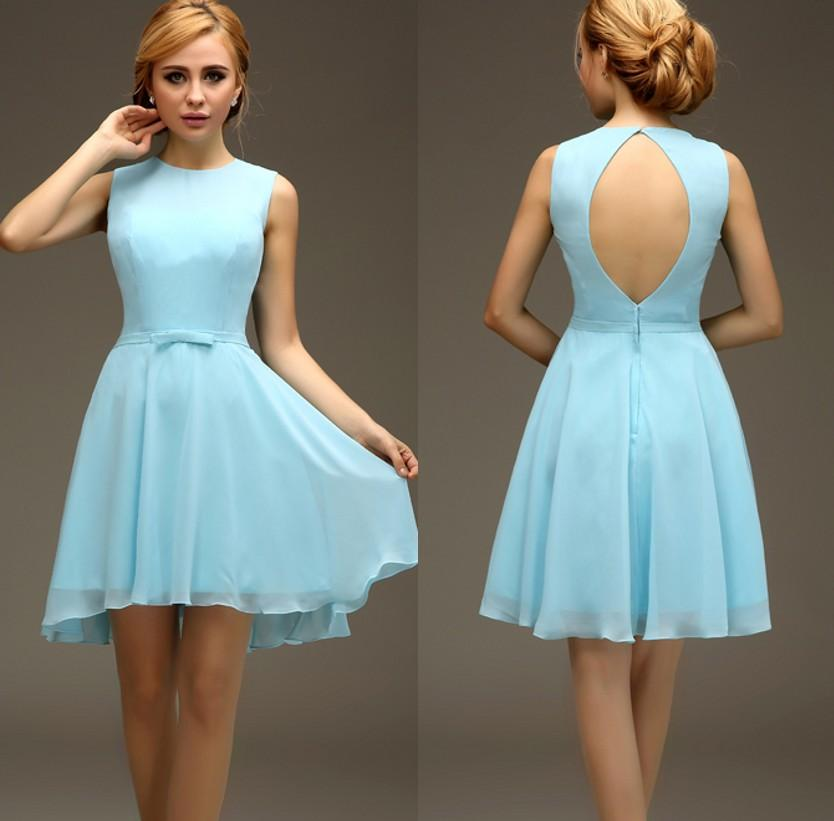 Short High Low Light Blue Sleeveless Chiffon Sexy Open Back ...