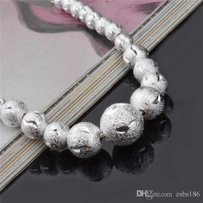 2015 New Design 925 Sterling Silver plated frosted beads Bracelet Fashion Jewelry Pretty cute wedding gift