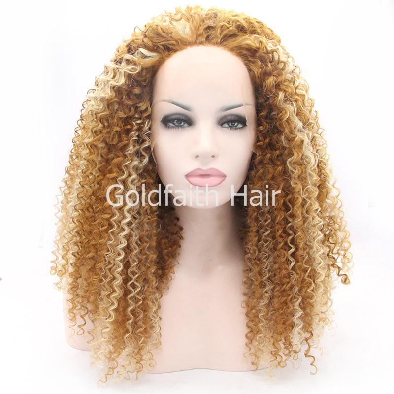 Long Highlighted Blond Afro Curly Wig Lace Front Curl Intense Synthetic Hair Wig For African American