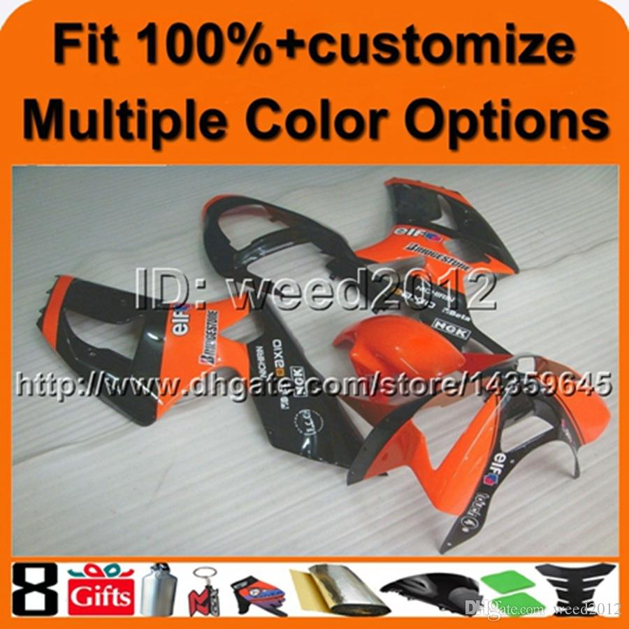 23colors+Gifts Injection mold ORANGE BLACK motorcycle hull for Kawasaki Ninja zx6r 03 04 ZX 6R 2003 2004 ABS Plastic Fairings