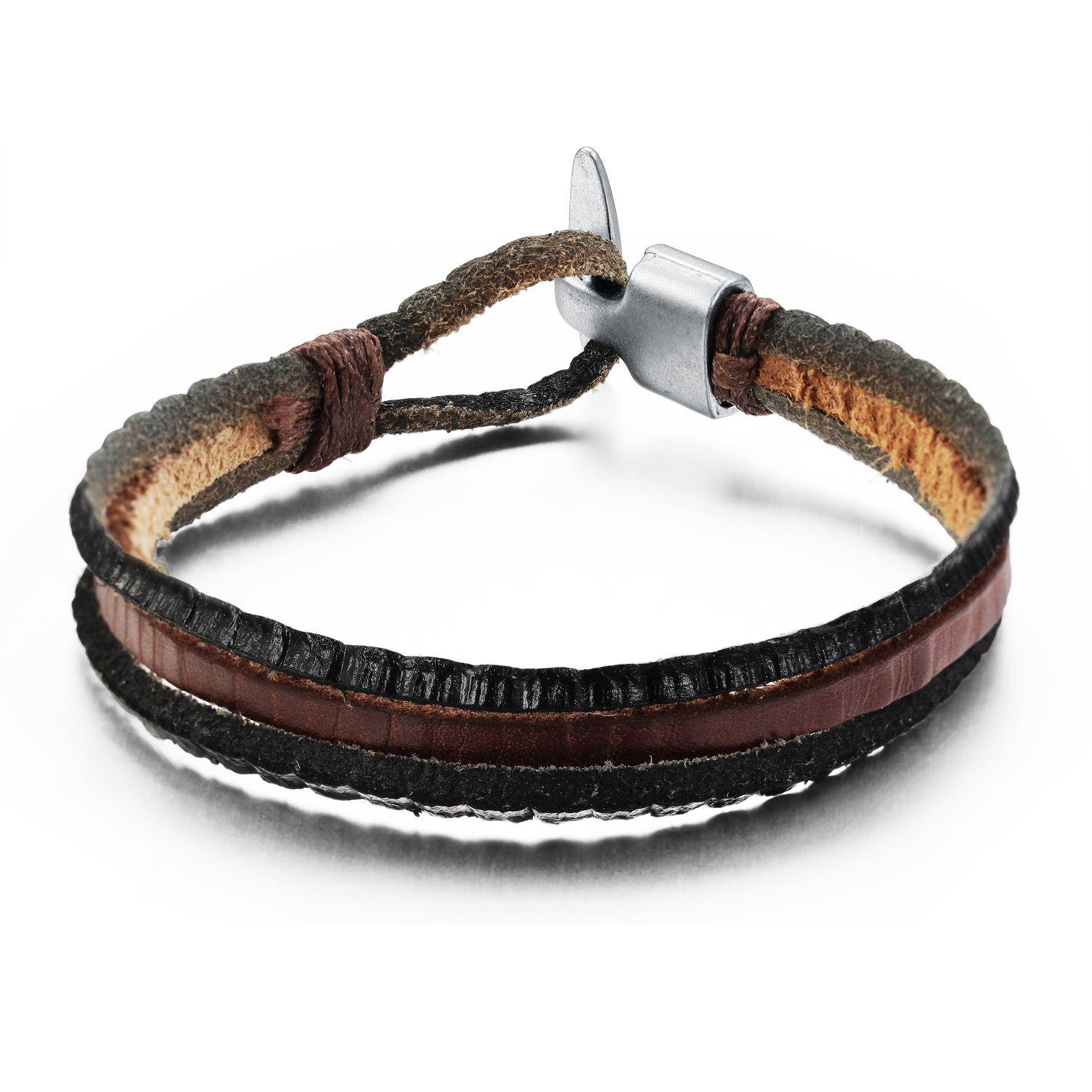 Handmade Leather Cool Punk Style Leather Bracelet For Men ...
