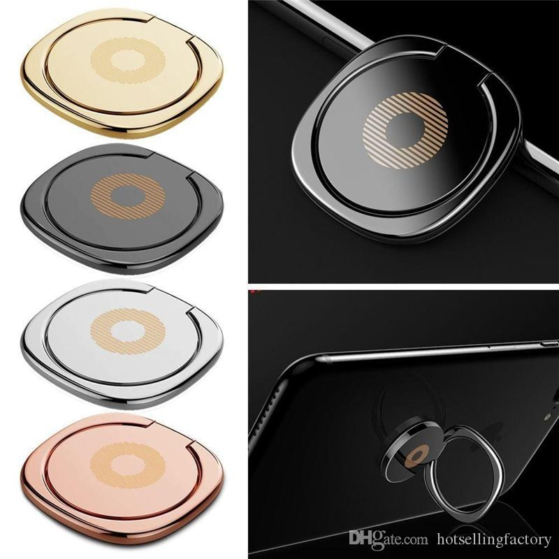 DHL gratuit 360 Degrés Métal Doigt Porte-Anneau Smartphone Mobile Téléphone Doigt Stand Titulaire Pour iPhone 8 Samsung S8 Tablet avec Or Sac