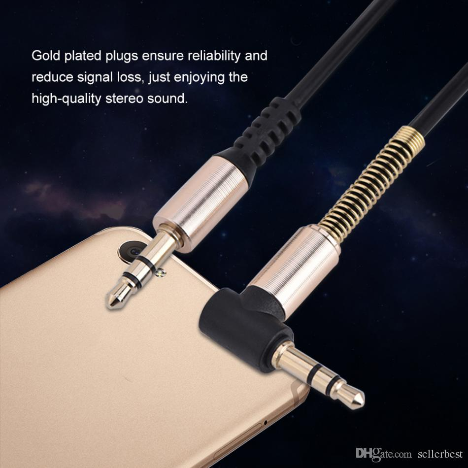 Audio Cables 3.5mm Male to Male Aux Cable L-Shaped 1.8m Retractable Cord for Car Audio Earphone Spring Cable Universal