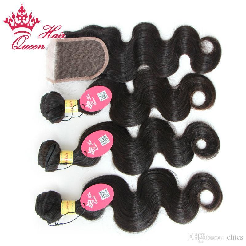 Produtos de cabelo rainha 100% peruano virgem humana cabelo 10 -28 / lote onda corporal cor natural qualidade superior lace fechamento e cabelo