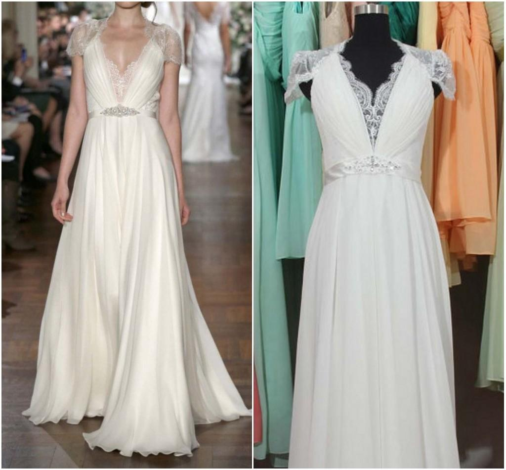 Real Greek Weddings: Greek Goddess Wedding Dress With Short Sleeves Sheer V