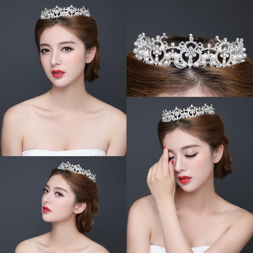 Hair accessories wedding cheap - Wholesale Rhinestone Wedding Quinceanera Tiaras Crowns 2016 Royal Bridal Headpiece Hair Decoration Accessories Pearls Wedding Cheap In Stock Flower Hair