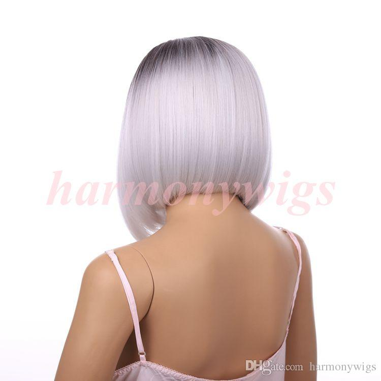 Мода кружева перед парик ломбер BlackGray 12 дюймов прямые короткие Боб синтетические термостойкие парики волос популярные