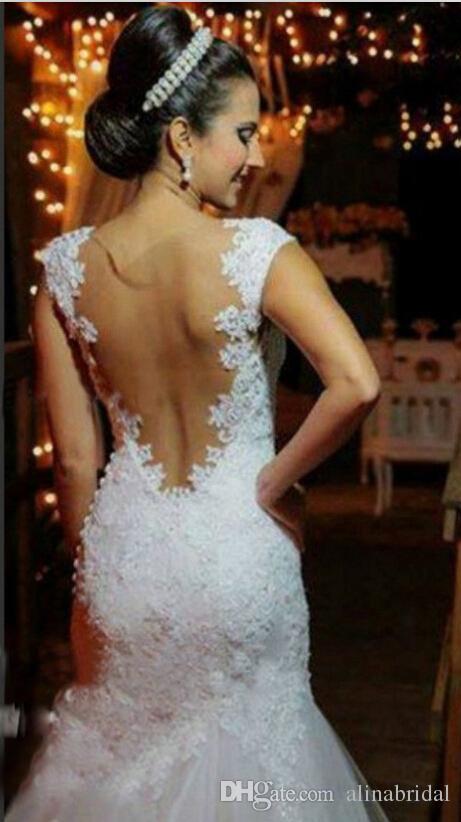 Classic White Luxury Lace Mermaid Abiti da sposa Inbal Dror Sexy Backless Abiti da sposa Appliques in rilievo cappella treno Abiti da sposa