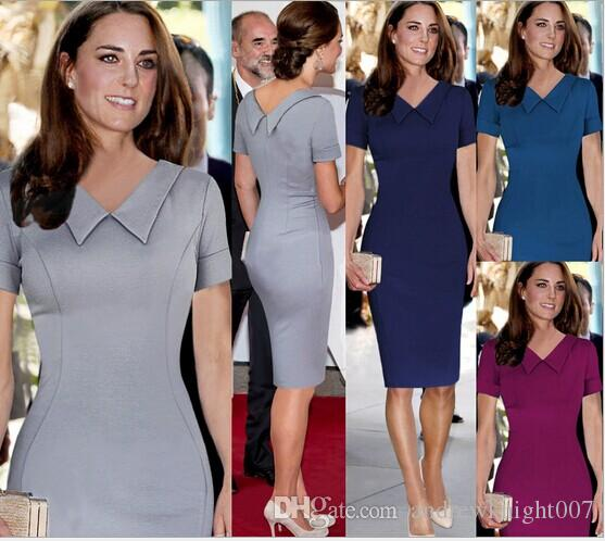 2015 Kate Middleton Celebrity Dress Grey Blue Red Women Kaoek Neck Doll Collar Short Sleeve