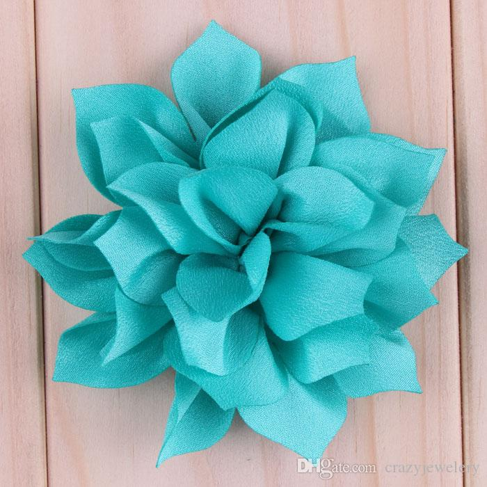 3'' Multilayer Chiffon Lotus Flowers Artificial Flatback Fabric Pointed Flowers Children Hair Accessories Corsage/Headbands Flower
