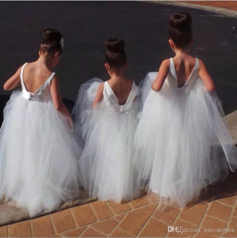 Blanc Tulle Longueur Etage Robes De Fille De Fleur pour Mariages Pas Cher Enfants Noel Noel Robes De Fete D'anniversaire Jewel Sans Manches Pageant Robe