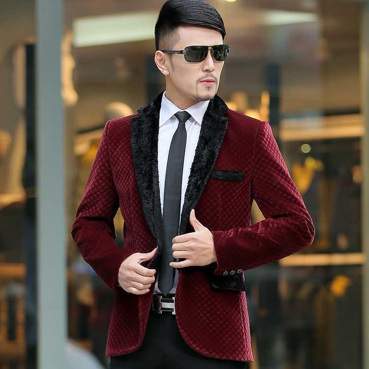 Online Cheap Banquet Suit 2015 New Men Slim Burgundy Dress Suit ...