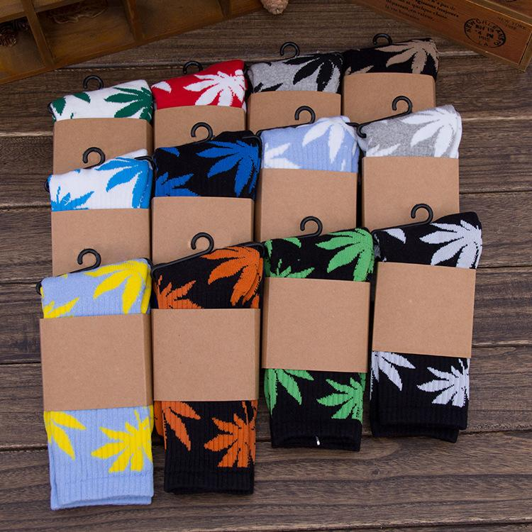 DHL 33 estilo Hot High Crew Meias Skate hiphop meias Folha Maple Leaves Meias de algodão homem mulheres crianças Unisex Plantlife Meias E455