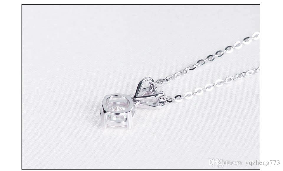 four Claw Perfect Round High Quality NSCD Synthetic Diamond Engagement Wedding Pendant necklace fine bridal Jewelry632-12-628-128