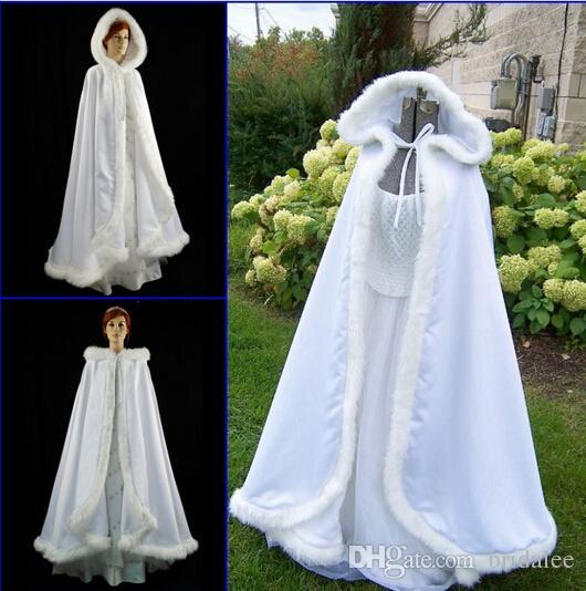 Romatic 2015 Hooded Bridal Cape Ivory White Long Wedding Cloaks Faux Fur With Satin For Winter Wedding Bridal Wraps Bolero