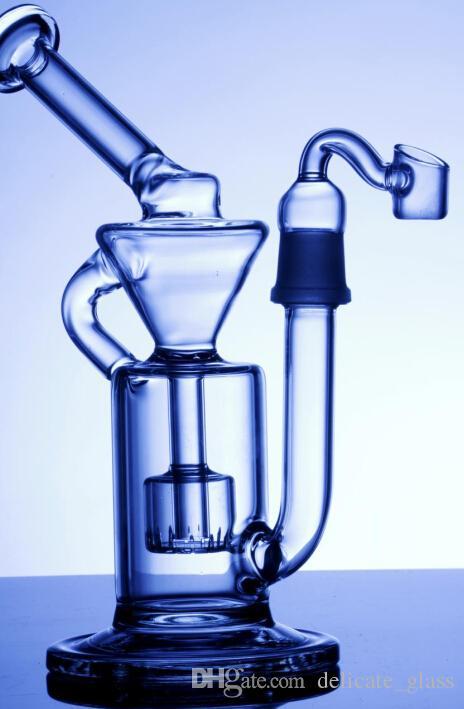 22 cm Lange Goedkope Draagbare Glas Waterleidingen met Joint Size18.8mm Dome Nail Recycler Glas Bongs Hoorkahs Honingraat Spiratual Bong Op voorraad