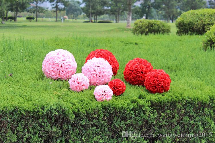 Hot Sale Beach Theme Pink Artificial Silk Flower Ball Hanging Kissing Balls 15 cm to 60CM Ball For Wedding Party Decoration Supplies