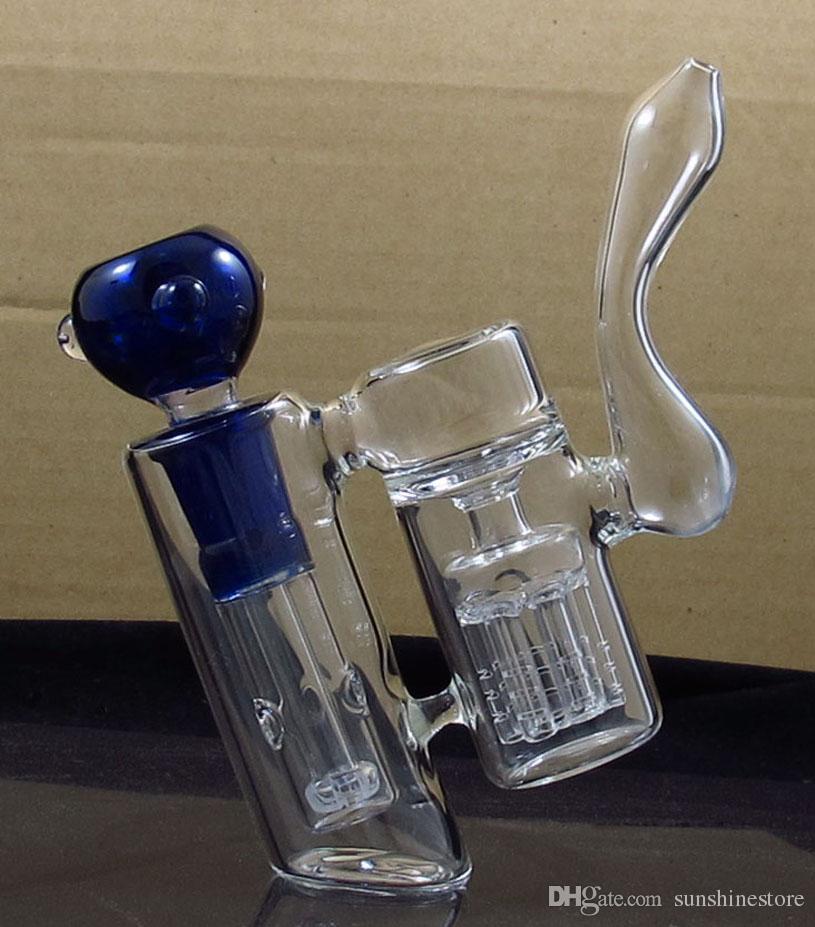 bubbler del tubo di fumo del bong dell'acqua di vetro della doppia camera con il perc dell'albero del braccio erba asciutta trasporto libero