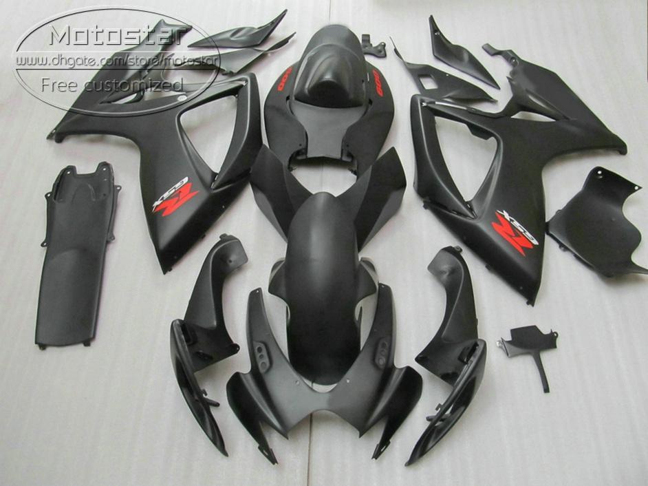 Kunststoffverkleidungsset für Suzuki GSX-R600 GSX-R750 06 07 K6-Verkleidungen GSXR 600/750 2006 2007 Alle mattschwarzen Bodywork Set V36F